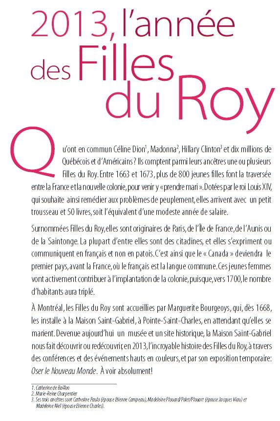 2013, l'année des Filles du Roy!