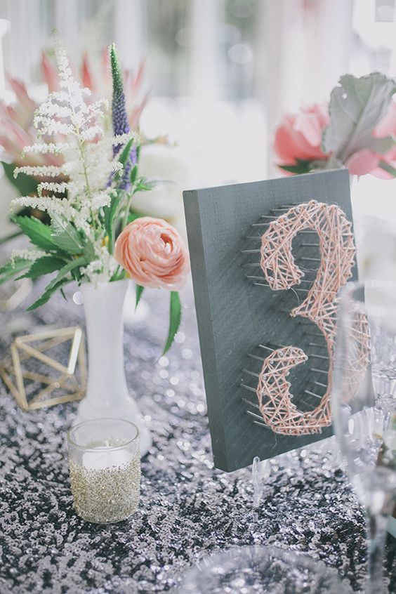 peach boho string art wedding table number Photo by Edyta Szyszlo / http://www.deerpearlflowers.com/diy-wedding-table-number-tutorials-samples/4/
