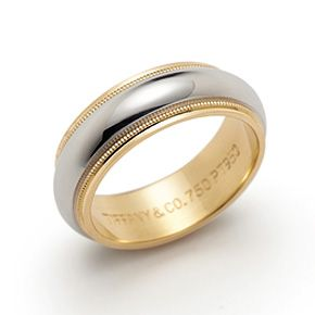 Tiffany Mens Milgrain Wedding Band Ring In Platinum And 18k Gold 6mm Wide