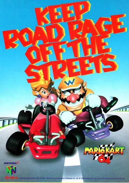 """A Mario Kart 64 """"Keep Road Rage Off The Streets"""" poster featuring Peach and Wario from the official artwork set for #MarioKart64 on the #N64. #MarioKart #Mario #Nintendo64. Visit for more info http://www.superluigibros.com/mario-kart-64"""