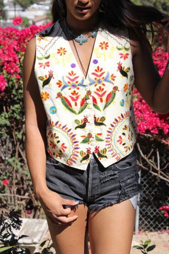 Coolio Vintage Guatemalan Folk Art Hand Embroidered Vest Huipil 1960s 1970s on Etsy, $42.00