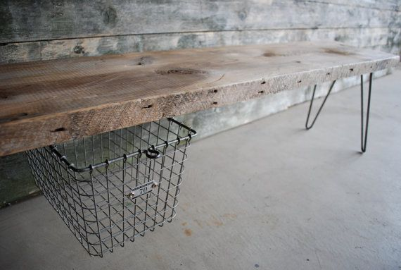 4 ft Industrial Bench with suspended vintage wire locker basket and hairpin legs $295. My dad could make this.: Reclaimed Woods Benches, Wooden Benches, Hairpin Legs, Vintage Wire, Lockers Baskets, Industrial Benches, Reclaimed Wood Benches, Wire Baskets, Baskets Benches
