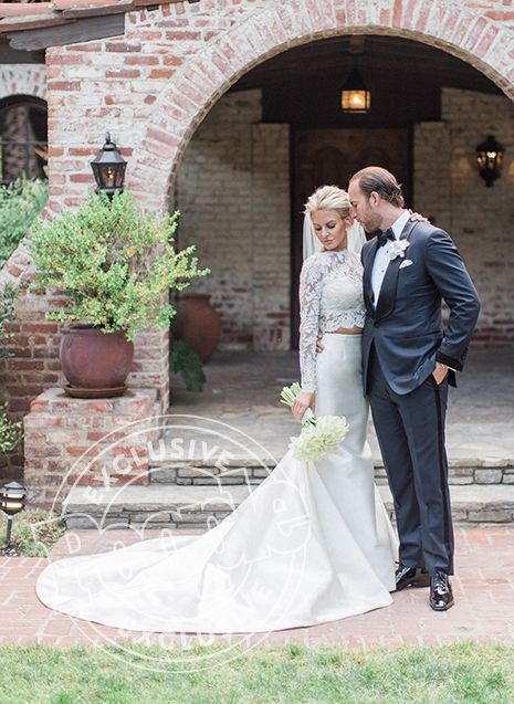 Rich Kids of Beverly Hills' Morgan Stewart (a.k.a. fashion blogger Boobs & Loubs) in a custom Badgley Mischka crop top wedding dress with husband Brendan Fitzpatrick - click through for more details on the wedding!