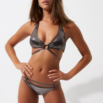 River Island Womens Silver foil ring detail triangle bikini top