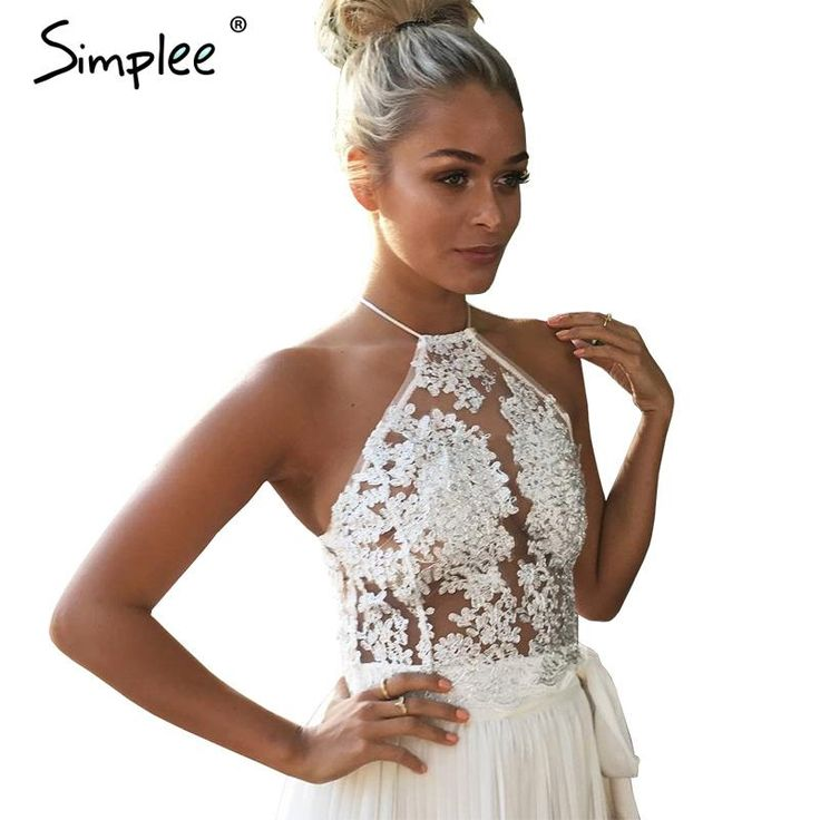 Find More Camis Information about Simplee Elegant white lace crop top Summer beach backless short halter tops Sexy white party camis gauze metallic women tank top,High Quality tank top under dress,China tank top women Suppliers, Cheap top pictures of the year from Simplee Apparel on Aliexpress.com