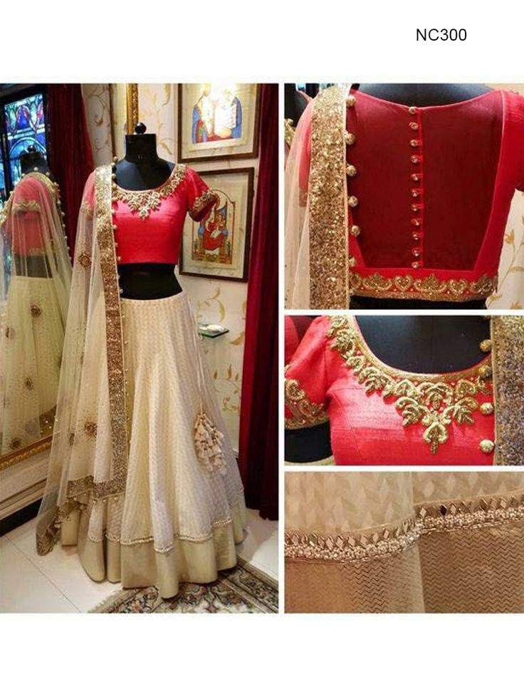 Bollywood lehenga cholis online, Bollywood replicas online shopping : Look amazingly beautiful wearing this off white and red net unstitched lehenga choli decorated with border detailing and zari work. Paired with a raw silk blouse and matching dupatta. It can be customized upto size 42. *Call / Whatsapp / Viber : +91-9052526627 *Email : customercare@natashacouture.com *Worldwide Shipping | Free shipping in India | Cash on delivery *
