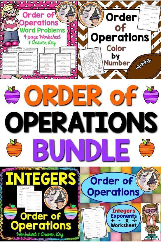 Order of Operations BUNDLE Worksheets Color by Number