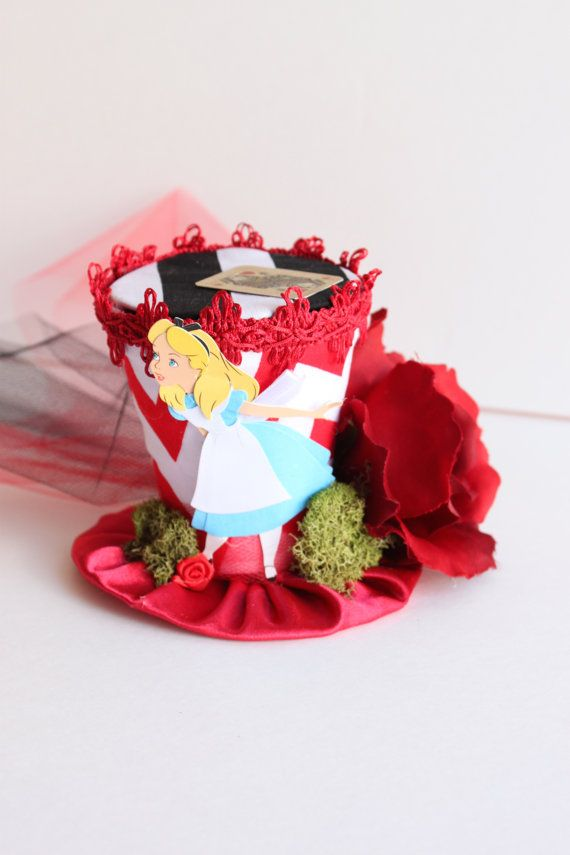 The Queen's Court - Mini Top Hat - Alice In Wonderland Hat - Red and Black Top Hat - Mad Hatter Novelty Hat