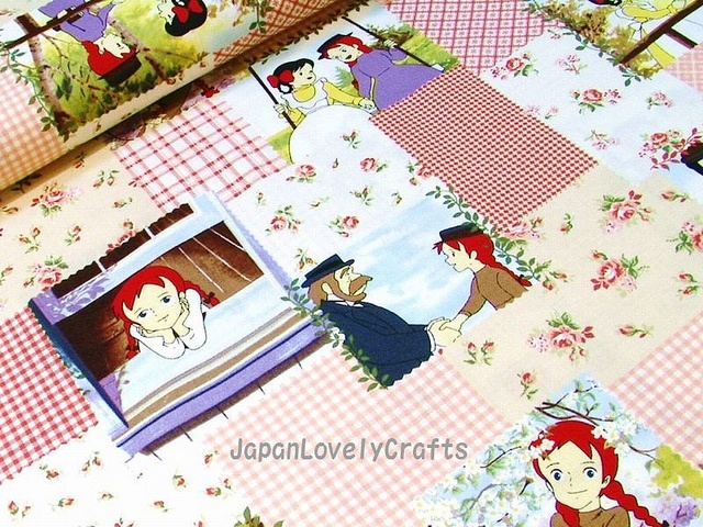 Japanese cotton print fabric of Anne of Green Gables Anime style.
