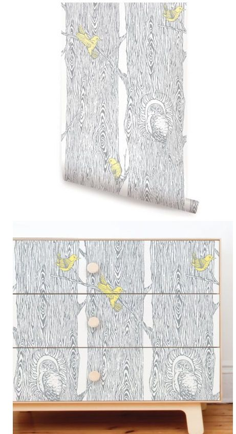 Forest cool gray yellow peel and stick wallpaper wall for Orange peel and stick wallpaper