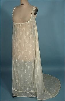c. 1800-1806 RARE Embroidered Sheer Muslin Trained Day or Evening Gown