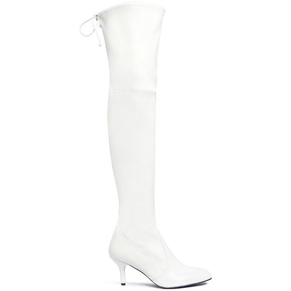 Stuart Weitzman 'Tie Model' stretch leather knee high boots (30,655 THB) ❤ liked on Polyvore featuring shoes, boots, white, leather pointed toe boots, white leather boots, stretch knee high boots, white boots and pointed toe knee high boots