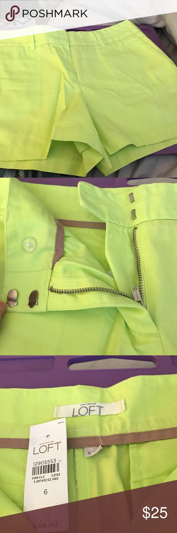 Neon Green NWT ATL shorts size 6 Ann Taylor loft size 6.  Come to mid-thigh. Brand new with tags! LOFT Shorts