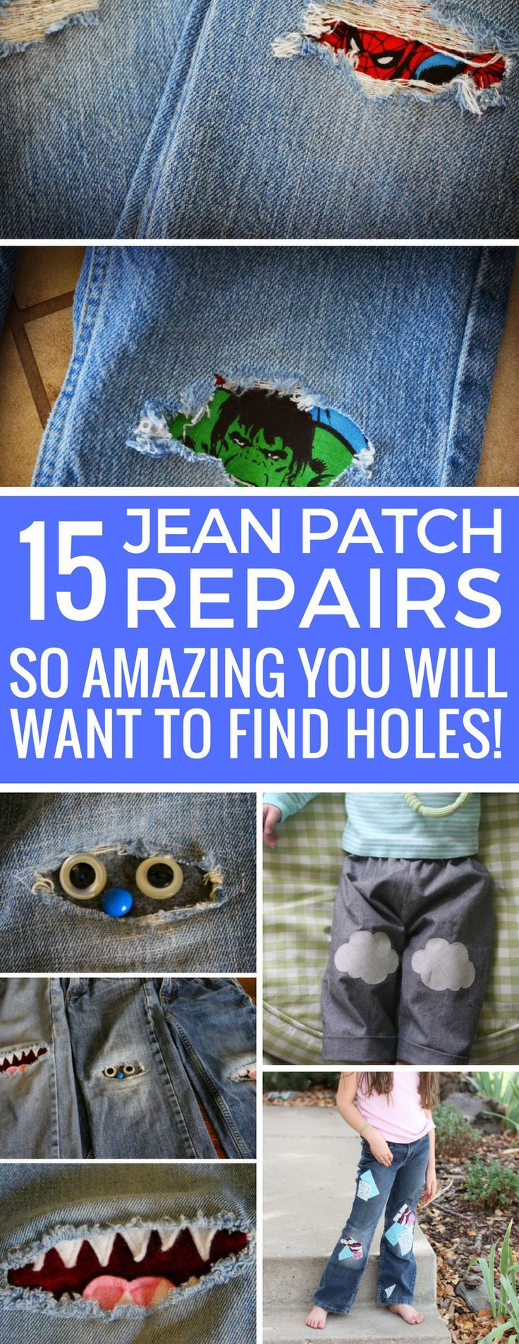 Wow - these jean patch repair ideas are so cool my kids might finally let me fix their jeans!