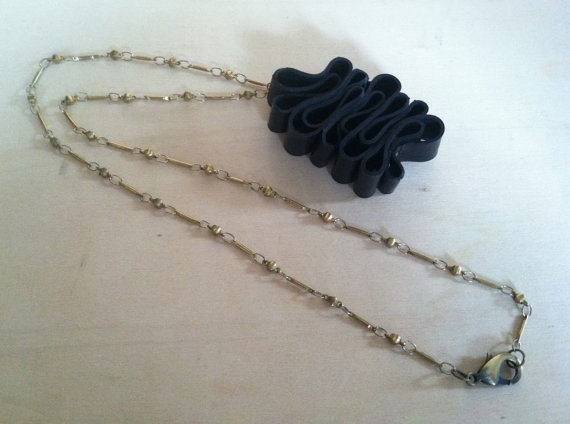 Reclaimed Rubber Inner Tube Necklace by Traashart on Etsy, $24.00  #innertubes #reused #recycled #upcycled
