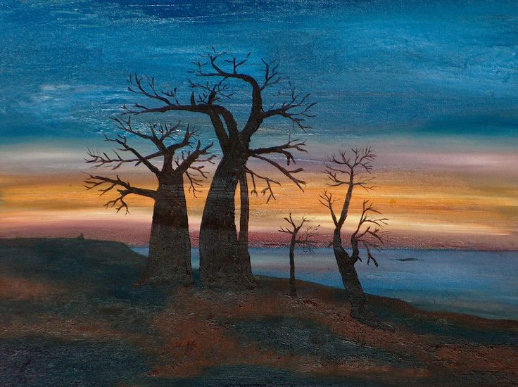 Baobab Sunset - an unfinished painting...
