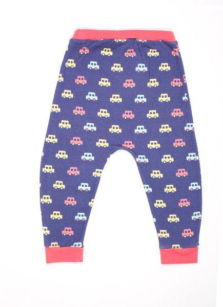 Tootsa MacGinty Dumbo Harem Pants in Indigo Cars Print