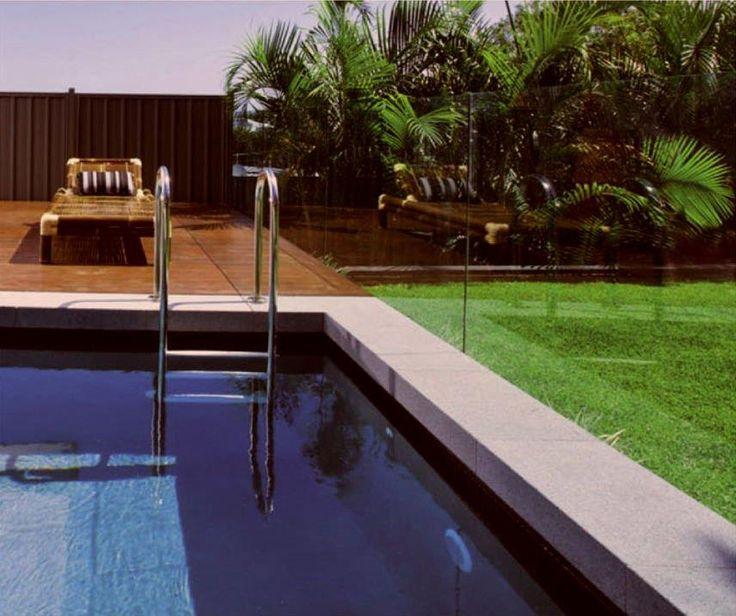 Granite pool coping tiles raven grey drop face coping - Non slip tiles for swimming pools ...
