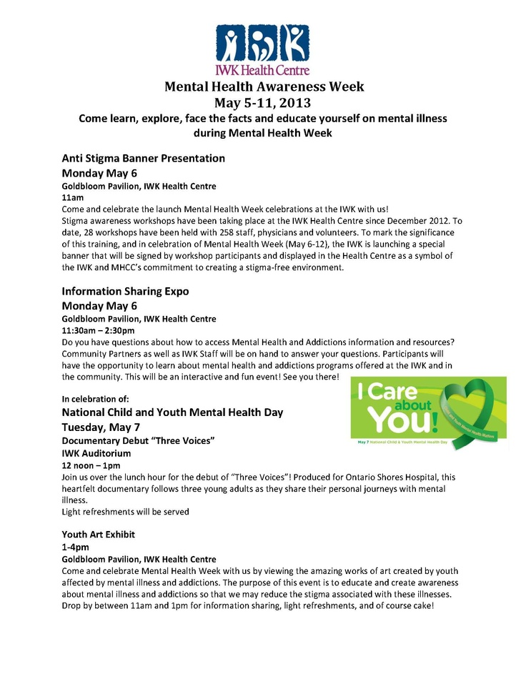 IWK Mental Health Week Events #MHW