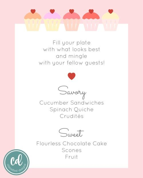 a sample menu for a tea party bridal shower with both savory options and sweet