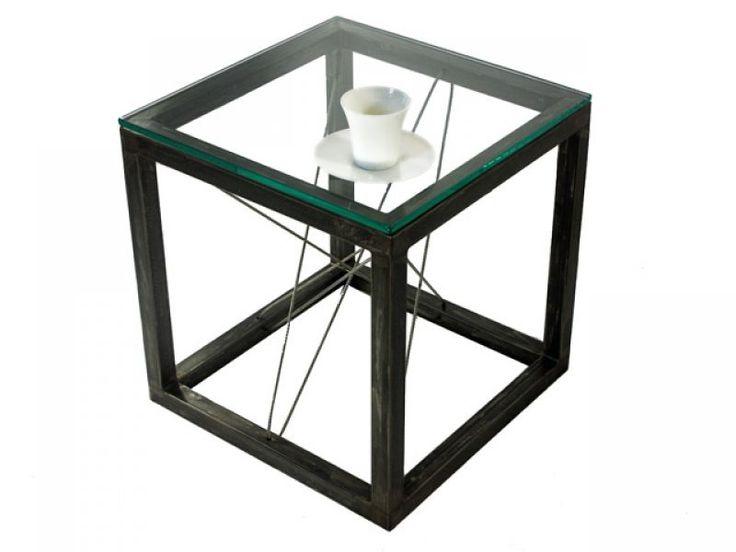QUBIK - industrialny stolik ze stali! od Button Design