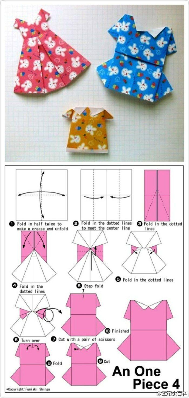 Combine papeis com diferentes estampas e tenhas vestidinhos maravilhosos feitos usando a técnica de dobradura conhecida como origami. Estes vestidinhos são uma ótima sugestão para decoração de festas infantis.