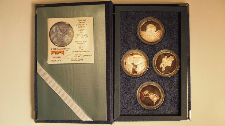 E.T. The Extra Terrestrial 1988 4-Piece Set 1/2 oz .999 Silver Proof Coin w/ Box | Coins & Paper Money, Bullion, Silver | eBay!