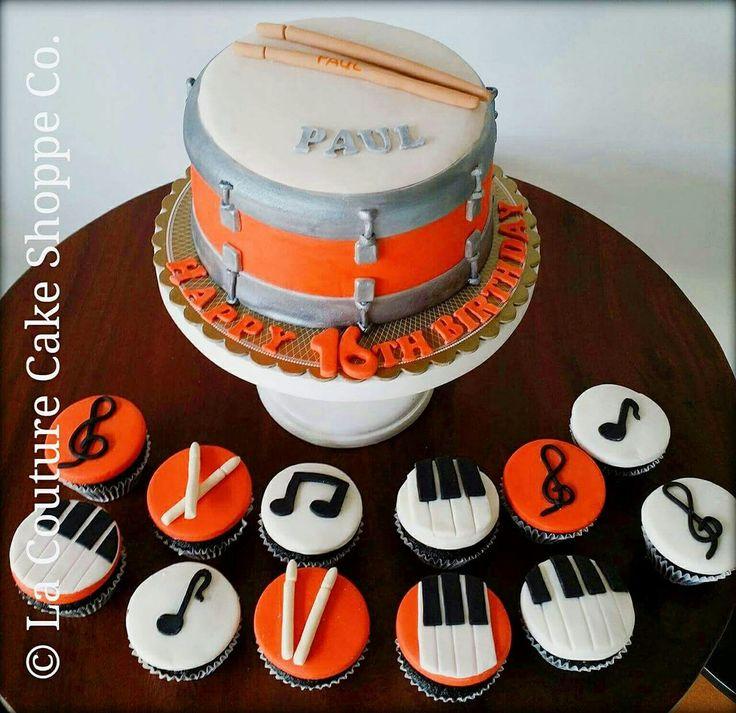 Drum Cake and Intrumental Cupcakes #LaCoutureCakeShoppeCo.