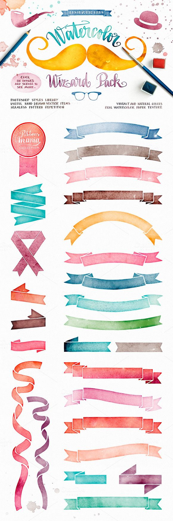 Watercolor Wizard Pack by Inkant Studio. Includes Photoshop styles, hand-drawn vectors, seamless patterns.