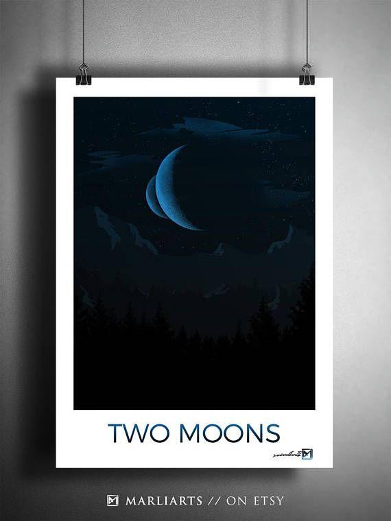 Two Moons Minimalistische Kunst Kunstwerk handgemacht