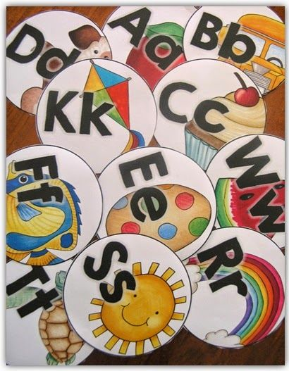 So many possible uses for these: Alphabet Labels Round Style l Clever Classroom Blog