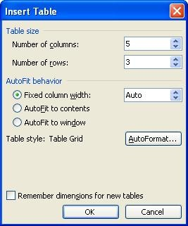 Using The Table Menu In Microsoft Office Word 2003