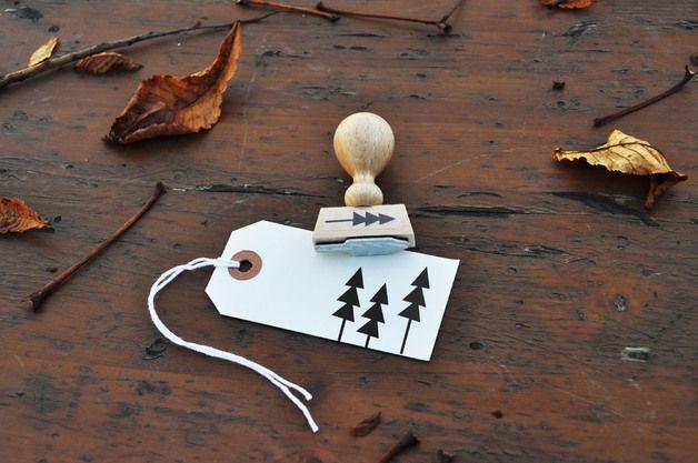 Stempel für die Winterzeit, Tannenbäume, Weihnachtspost / cute stamps for christmas and winter season, christmas tree by Der kleine Sperling via DaWanda.com