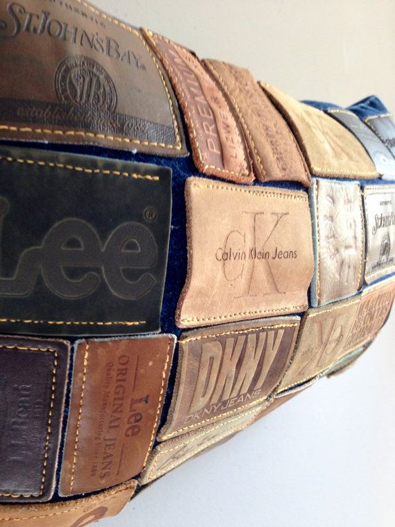 denim leather jean label pillow by TegansCloset on Etsy