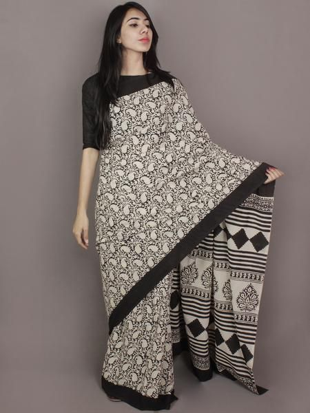 Ivory Black Hand Block Printed in Natural Colors Cotton Mul Saree - S031701171