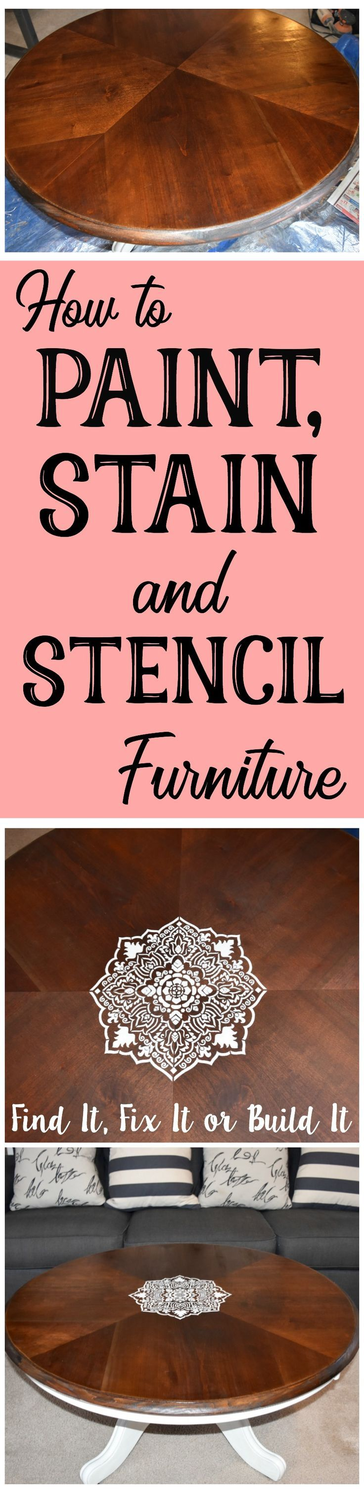 How to remove original finish on furniture. How to stain furniture. Paint a coffee table. DIY stencil. Add a stencil to furniture.
