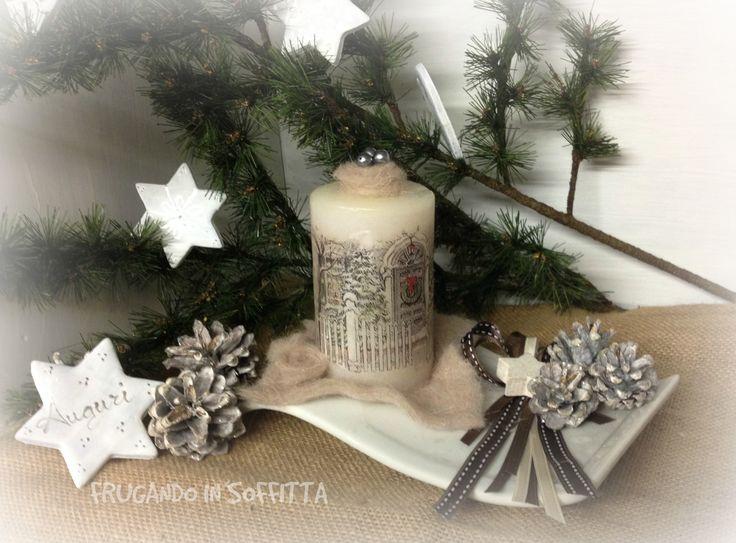 natale shabby centotavola candela