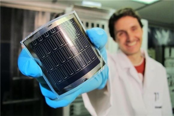Peel-and-stick solar cells for battery-powered products of the future