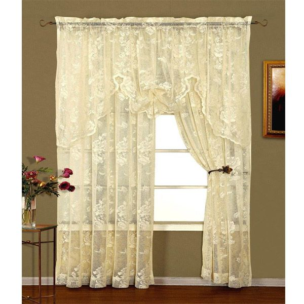 Check out the deal on Abbey Rose Ivory Floral Lace Curtain at BedBathHome.Com