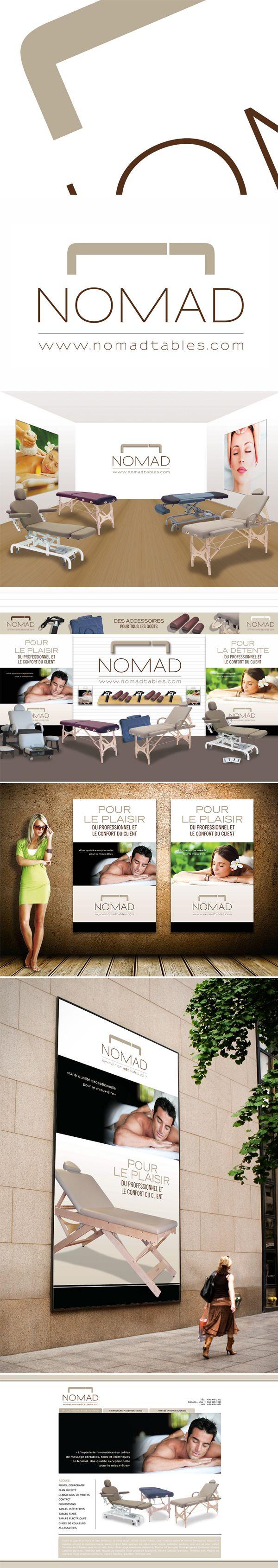 Tables Nomad  Un beau projet pour gosselin.com, créé un logo pour des tables de massage et de soins. Épuré, doux, un logo simple, mais qui dit tout. Des couleurs de cuir comme celles utilisées pour les tables.  Une suggestion de salle d'exposition pour le magasin à Laplaine et une autre suggestion pour celui de Laval, Allez Housses. Des affiches et une grande bannière.  Nous avons aussi proposé un concept pour le site Web (6e image) qui n'a pas été utilisé.