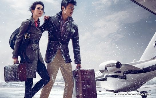 supermodel and actor Hu Bing and  Lin Chiling  Shanghai Tang Autumn/Winter 2011