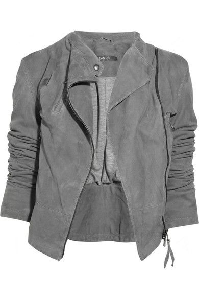 Gray suede leather biker jacket. Lot78 jacket has an exposed asymmetrical zip fastening at the front, breast slit pocket with welt, front pockets with welts, buckle fastening details at sides, exposed zip fastening details at cuffs and is fully lined. 100% leather; lining: 50% cotton, 50% wool. Dry clean.