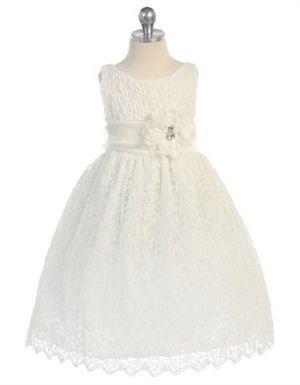 girls' lace mesh dress | gorgeous ivory dress for girl. Simple elegant