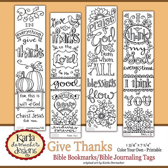 GIVE THANKS Color Your Own THANKSGIVING Bible Journaling Bookmarks Illustrated Faith Instant