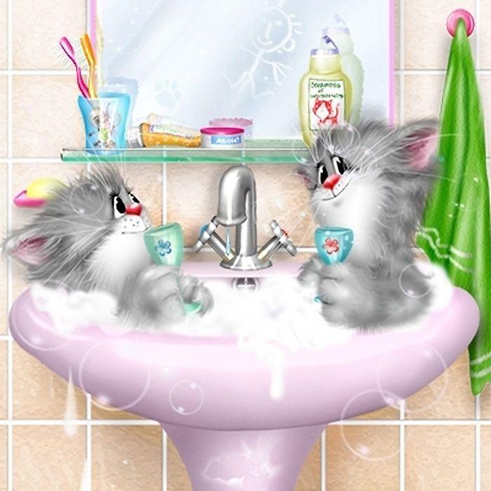 Открытка в ванной, днем