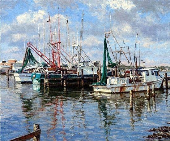 Rockport Trawlers by Mark Haworth Oil ~ 20 x 24