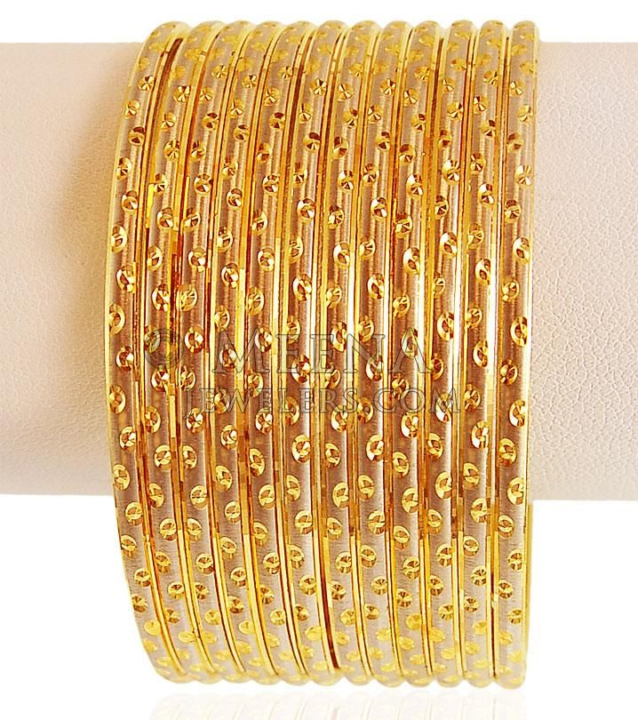 22kt Gold Rhodium Bangles (12 PC) ( Set of Bangles )