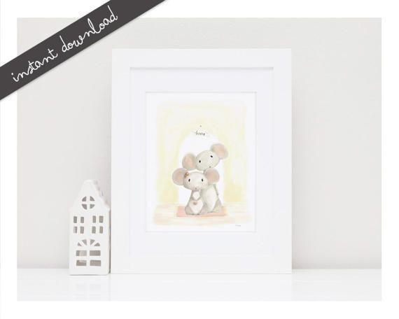 Printable Nursery Art''Home''Mouse Nursery by LittleYellowDaisiess