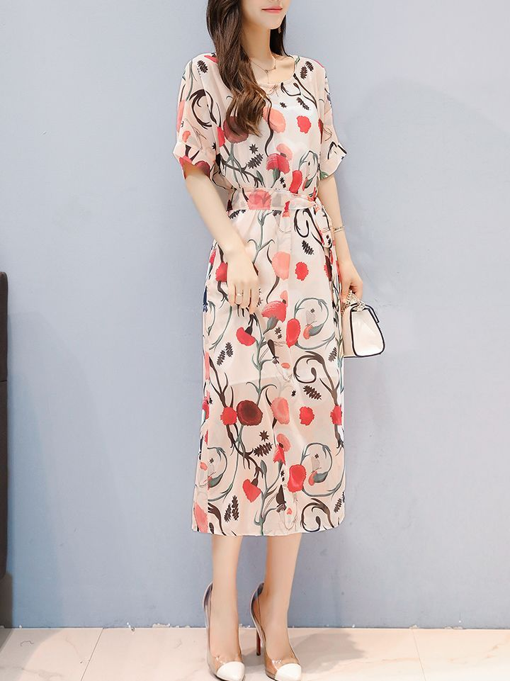 Flower Chiffon Slim Sweetly Dress(Size:M-XXXL)_Short Sleeve Dress_DRESSES_Wholesale clothing, Wholesale Clothes Online From China
