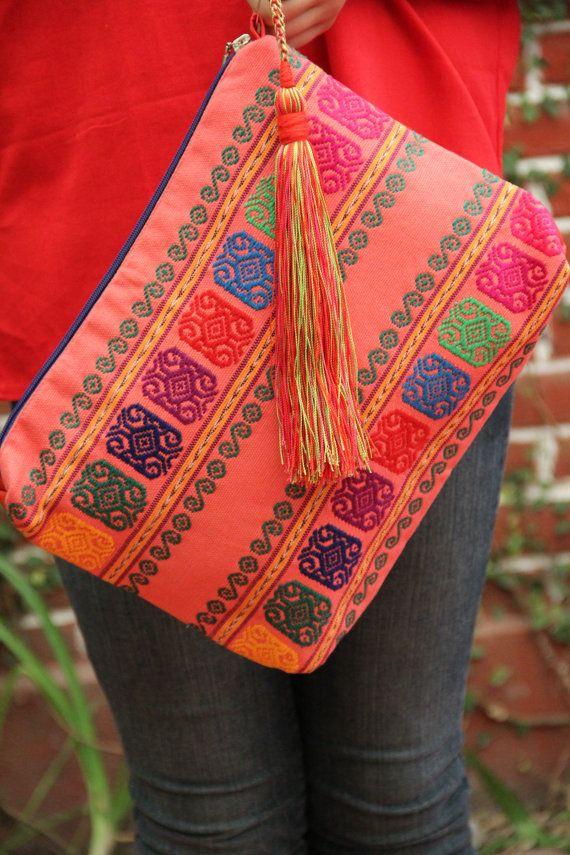 Mexican textile hand woven clutch by CasaOtomi on EtsyMexico, Tenango, mexican wedding, textile, mexican suzani, suzani, embroidery, hand embroidered, otomi, www.casaotomi.com, otomi, table runner, fiber art, mexican, handmade, original, authetic, textile , mexico casa, mexican decor, mexican interior, frida, kahlo, mexican folk, folk art, mexican house, mexican home, puebla collection, las flores, travel tote, boho, tote, handbag, purse, cushion, serape